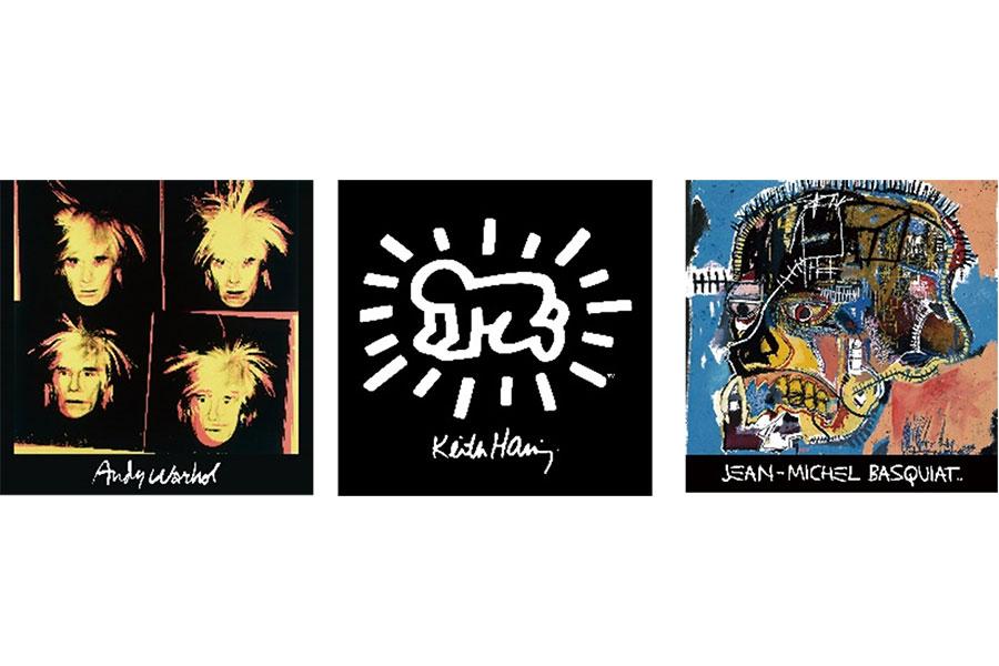 左からアンディ・ウォーホル、キース・ヘリング、ジャン=ミシェル・バスキア(すべて6月下旬発売予定)