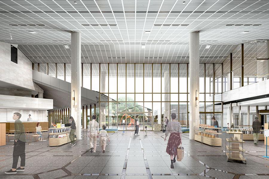 滋賀県立美術館、エントランスロビーイメージ