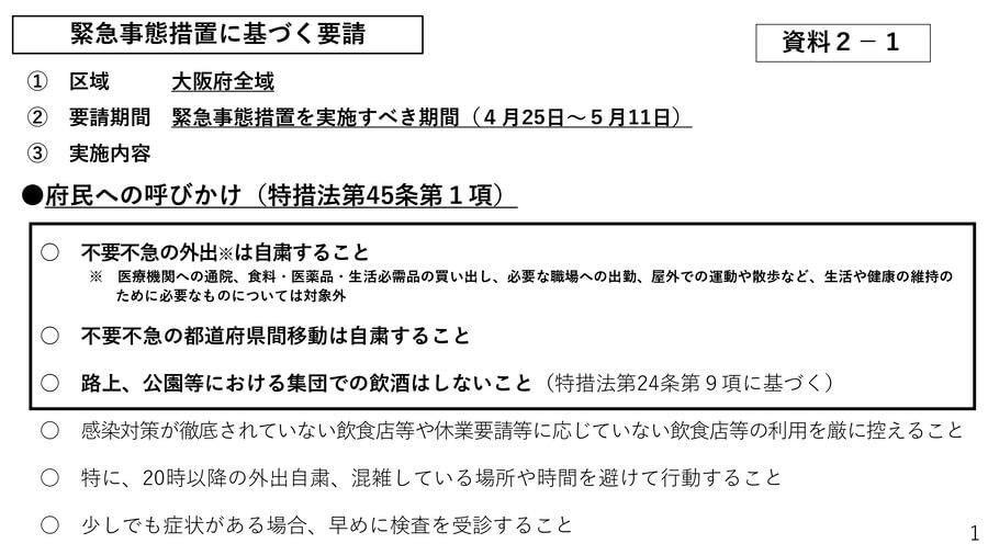大阪府の配付資料より「緊急事態宣言に基づく要請」