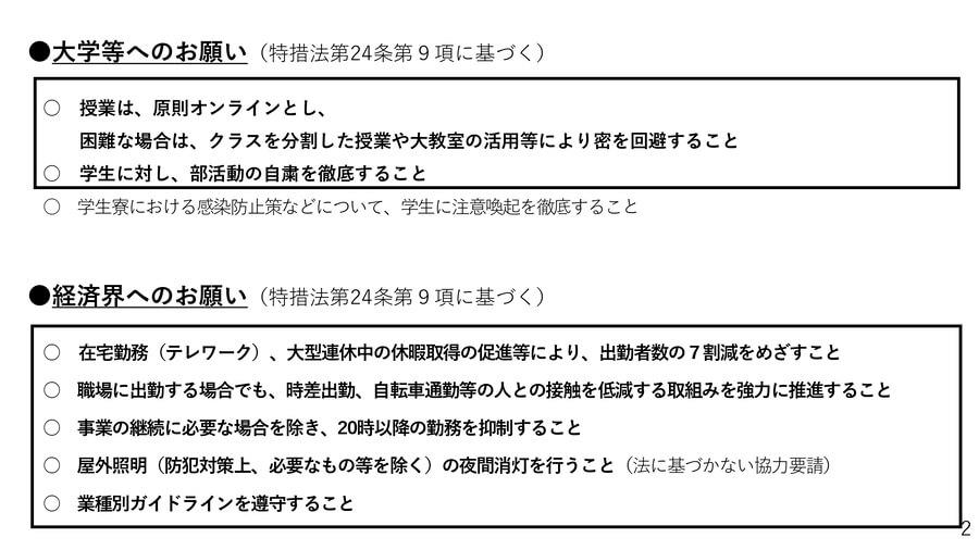 大阪府の配付資料より「緊急事態宣言に基づく要請2」