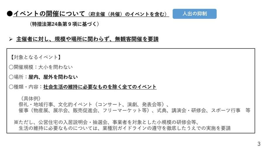 大阪府の配付資料より「緊急事態宣言に基づく要請 イベント開催について」
