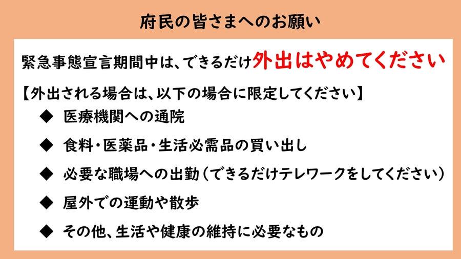 大阪府の配付資料より「府民のみなさまへのお願い」