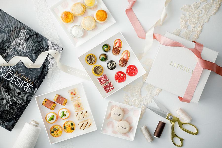 「セント レジス ホテル 大阪」のイートインでは、トレイ代わりに使用されるのが、ラ ペルラの箱。ジャンドゥーヤ & アペロールのタルト、ショコラ ピスタチオ、ベルガモットオレンジスコーン、ミニカプレーゼなど