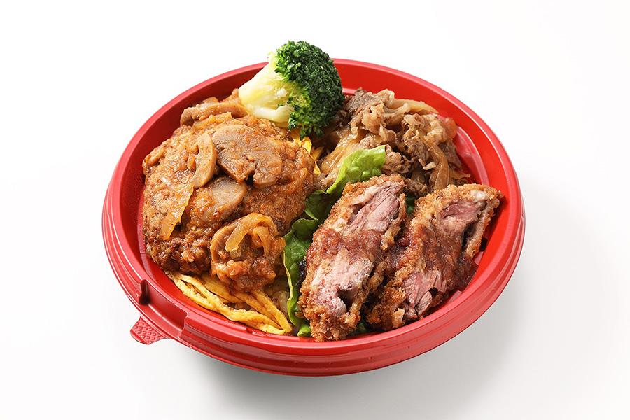 「京のお肉処 弘・弘のがっつり丼」第15回のチャンピオンショップ。1番人気の焼肉とハンバーグ、ビフカツがのった一品(1080円)