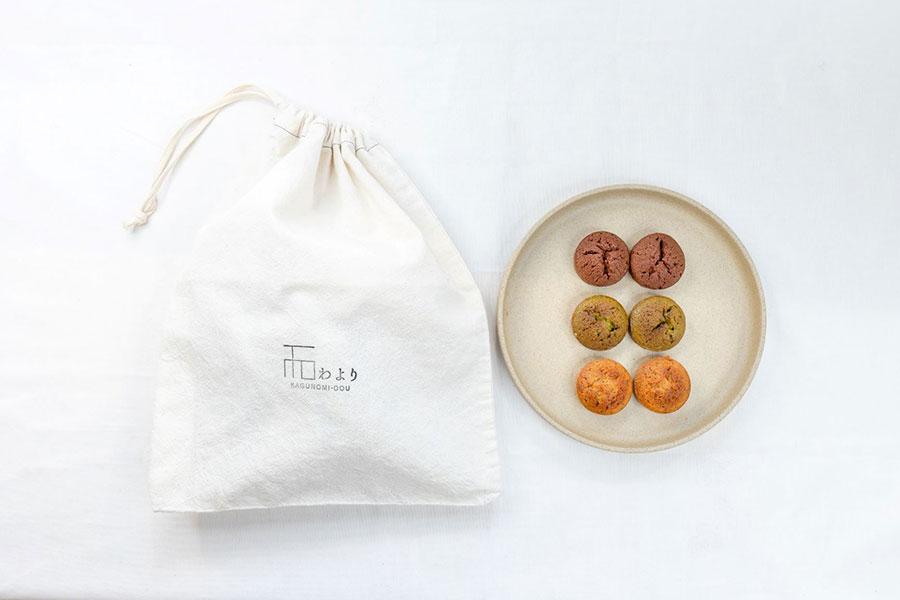 「わよりの焼き菓子」(フィナンシェ3種セット)1000円 。巾着付き