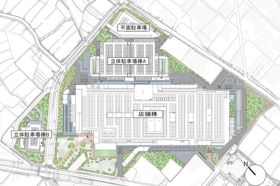 「(仮称)三井ショッピングパーク ららぽーと堺」建物配置図