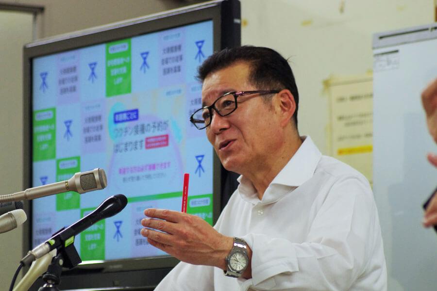 ワクチンの大規模接種にあたり、問診できる医師の協力を呼びかける松井一郎市長(5月13日・大阪市役所)
