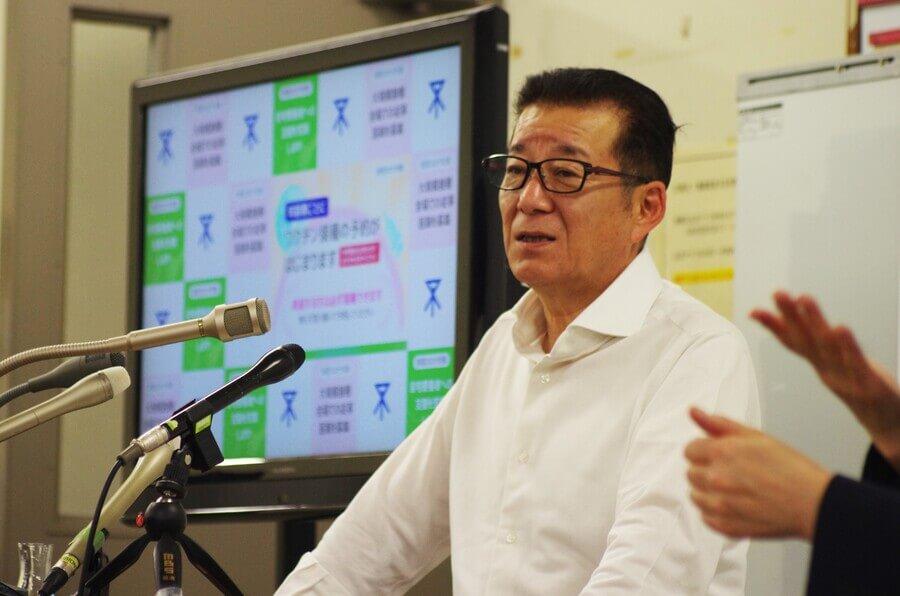 ワクチン接種の説明をする松井一郎市長(5月13日・大阪市役所)