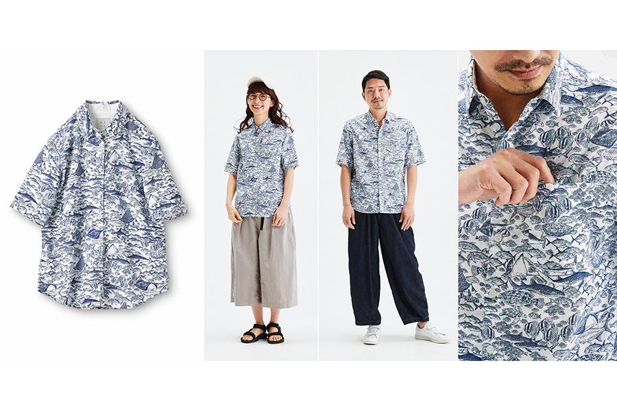 サニークラウズ feat. 須磨海浜水族園 大水槽の仲間たちシャツ(レディース4290円、メンズ5060円)