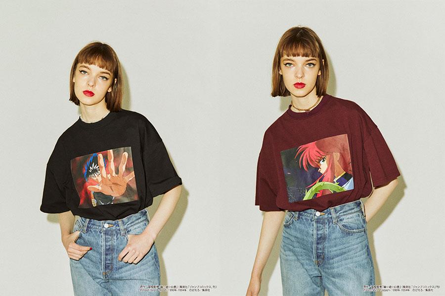 『幽☆遊☆白書』飛影 BIG Tシャツ(左)、『幽☆遊☆白書』蔵馬 BIG Tシャツ(いずれも7700円)