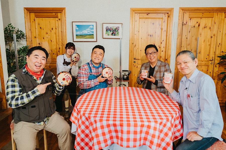 左からドランクドラゴン・塚地武雅、アンタッチャブル・山崎弘也、梅沢富美男、大山即席斎(C)ABCテレビ