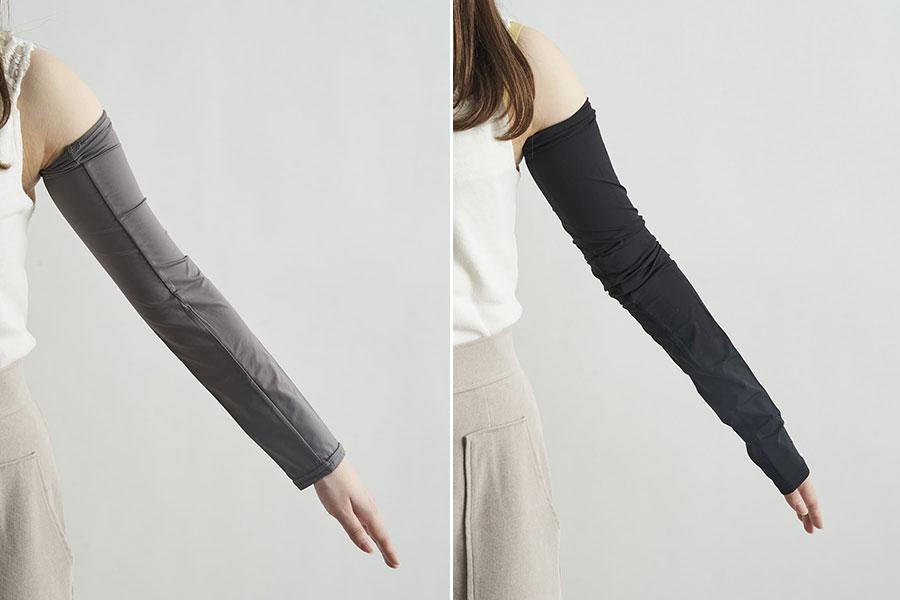 超冷感アームカバー(左が48cm丈のグレー、右が67cm丈のブラック)