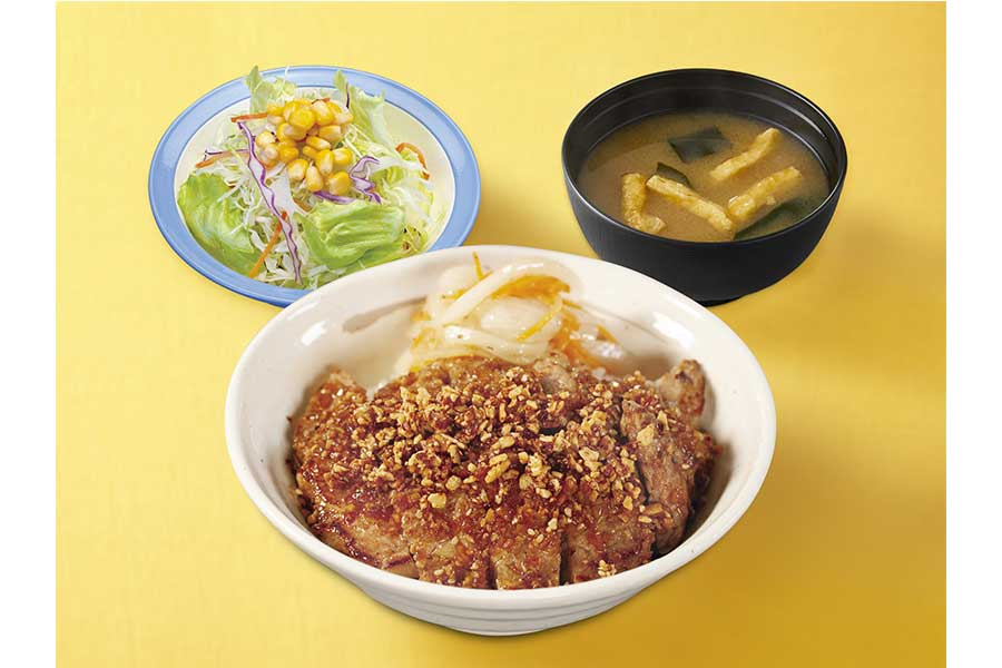 ポークステーキ丼 香味醤油・生野菜セット(690円)