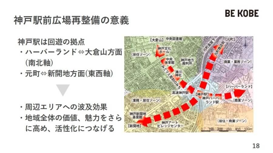 周辺エリアの回遊拠点として、駅前広場を整備する方針(神戸市提供)