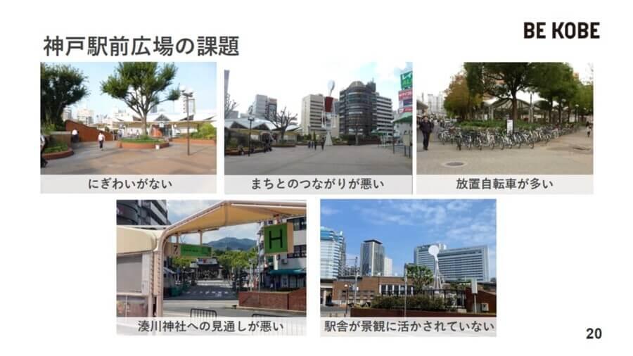 放置自転車や動線の悪さなど、現在の神戸駅前広場が抱える課題は多い(神戸市提供)