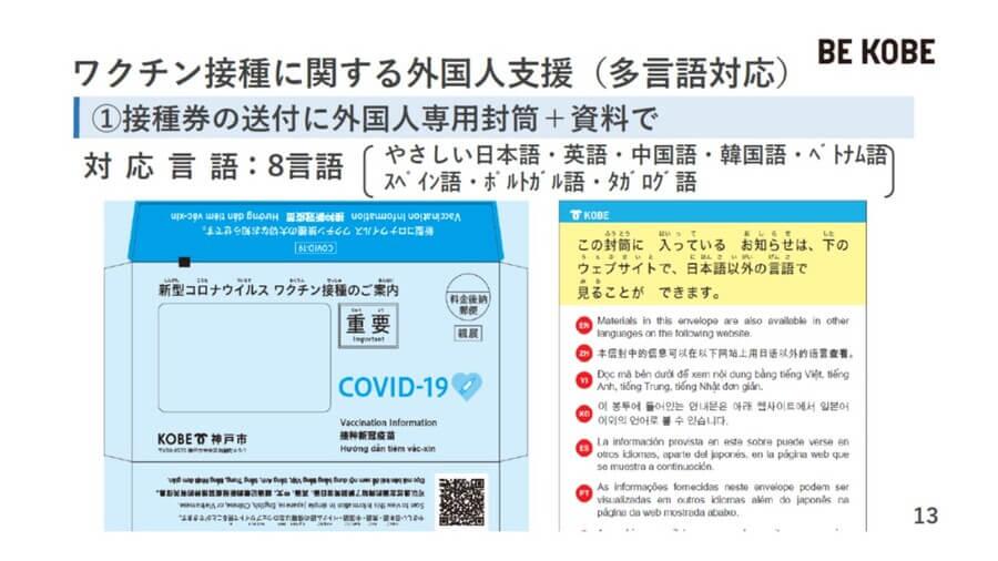 外国人には、8カ国語が書かれた専用の封筒・書類でワクチン接種券であることを知らせる(神戸市提供)