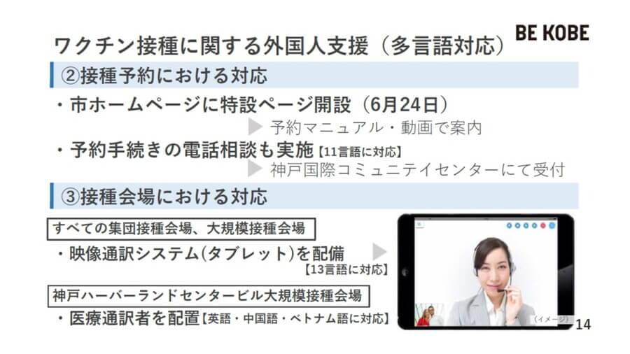 予約時や、接種会場でも多言語に対応する(神戸市提供)