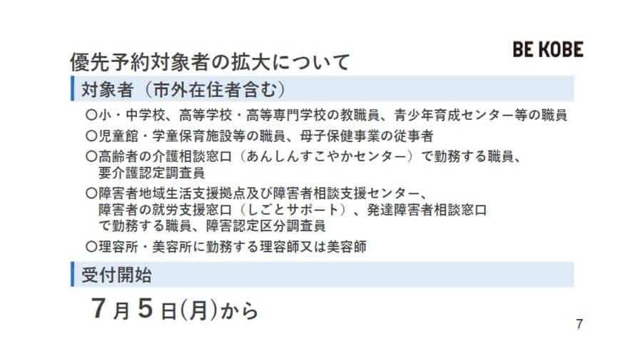 従来の優先予約対象者に続き、上記の職業に従事する人は年齢に関係なく7月5日から予約できる(神戸市提供)