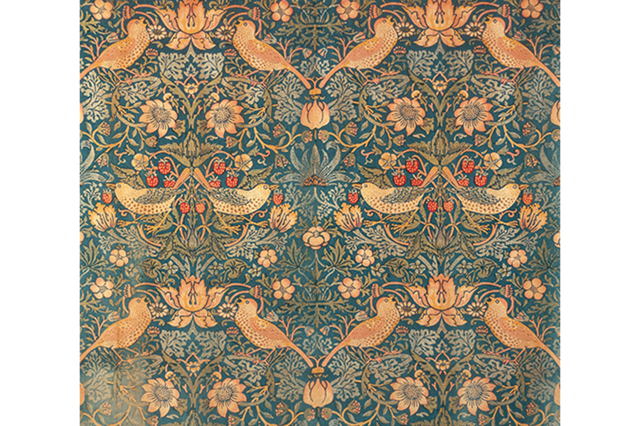 《いちご泥棒》 デザイン:ウィリアム・モリス Photo(C)Brain Trust Inc. 1883年 木版、色刷り、インディゴ抜染、木綿 内装用ファブリック