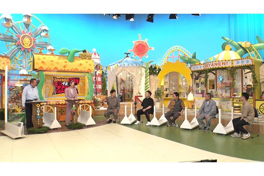 左から、今別府直之、宇都宮まき、小籔千豊、ダイアン(ユースケ、津田篤宏)、川畑泰史、すっちー(C)MBS