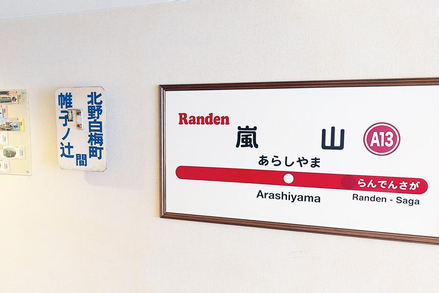 「嵐電トレインルーム」では記念乗車券・旧行先方向板・駅名標を展示