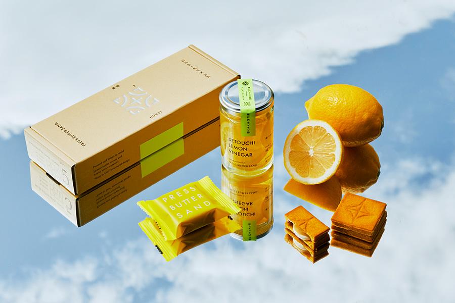 瀬戸内セットには、「バターサンド<檸檬>」と「飲む生レモン酢」が入っている
