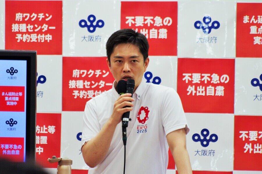 感染防止対策の徹底を呼びかける吉村洋文知事(6月30日・大阪府庁)