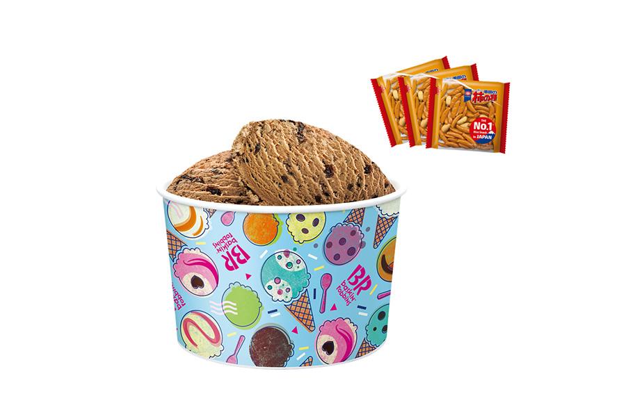 柿の種付きスーパービッグカップ(3250円)は、好きなフレーバを4種類まで選べる、約10人分のアイスクリームが入った大容量テイクアウトカップ
