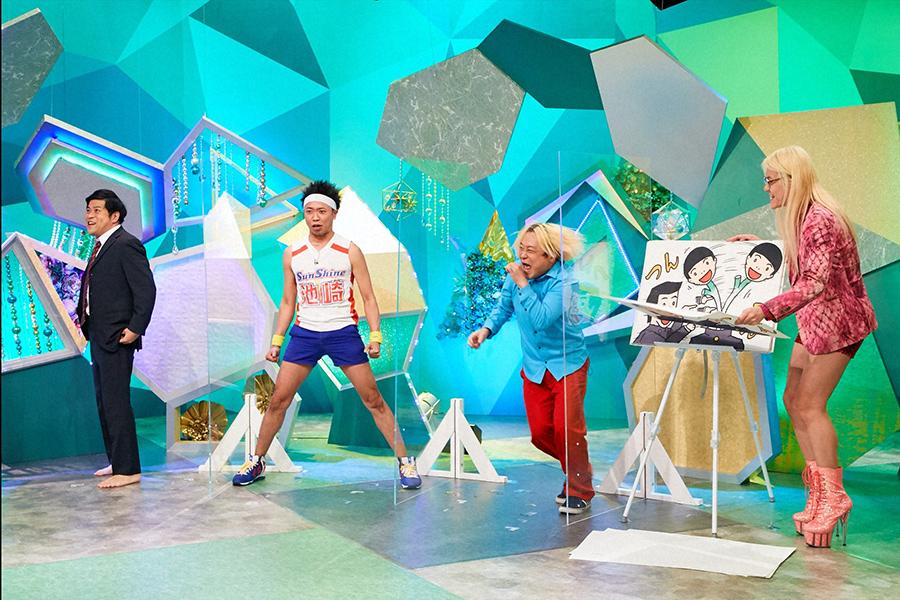 左からピン芸人の守谷日和、サンシャイン池崎、永野、ZAZY(C)ABCテレビ