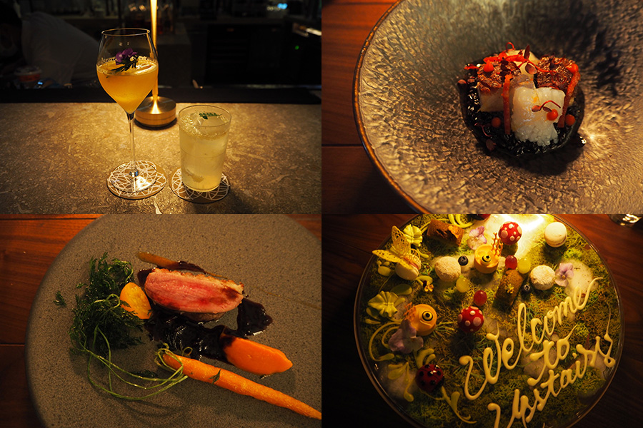 ディナーは全部で8種のコース料理。黒米のリゾット(右上)鴨のロースト(左下)スイーツプレート(右下)