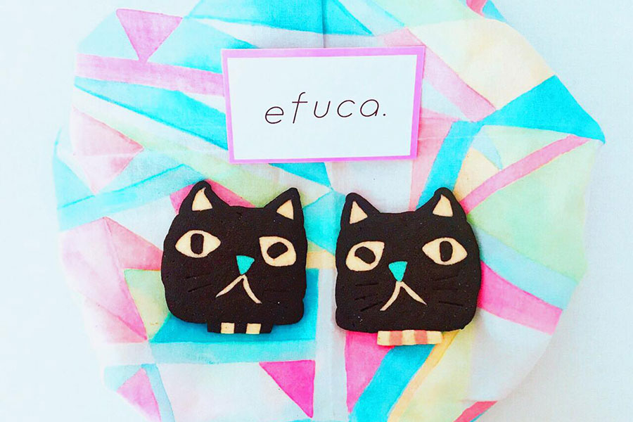 いなだみほさんによる「miho à la mode」では、お菓子作家イトウユカさんによる「efuca.」のねこクッキーなどを販売