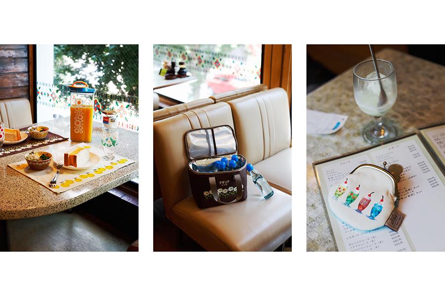 動物&花柄のテーブルウェア一例。冷水筒(1650円)、ボウル(990円)、ランチョンマット(880円)、保冷バッグ(2200円)、がま口コインケース(1760円)