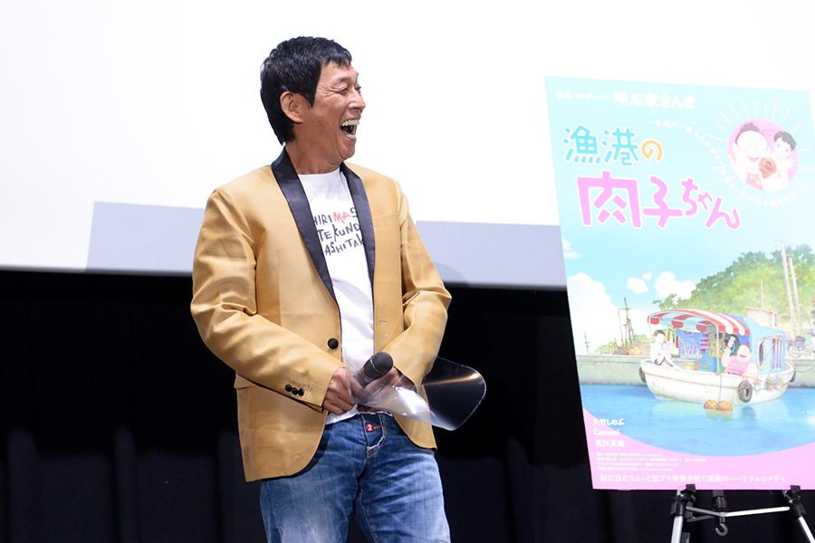 舞台挨拶に登場した明石家さんま(4日・大阪市内)