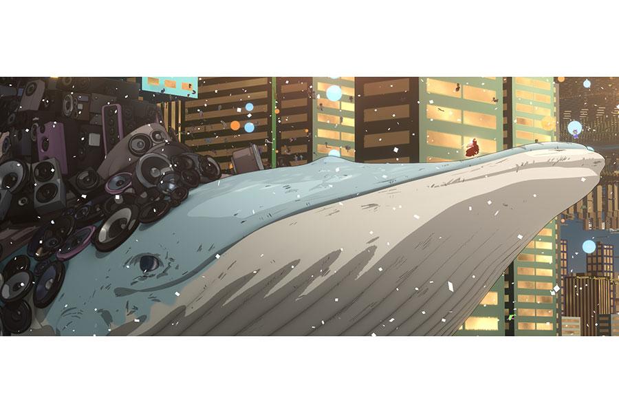 仮想世界〈U〉に登場する鯨。その上ではベルが華やかな衣装で歌を歌っている (C)2021 スタジオ地図