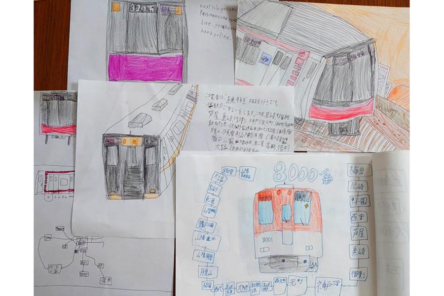 なおとくんが描いた、電車や路線図。鉄オタ度が伝わってくる力作