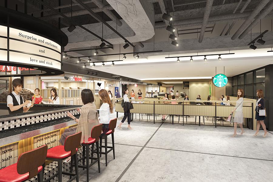 地下2階のグルメゾーンは、1人で食事しやすいコーナーに。「髭寿司」「北新地とんかつエペ」「インデアンカレー」「グリルロン」などバラエティ豊かな店舗がラインアップ