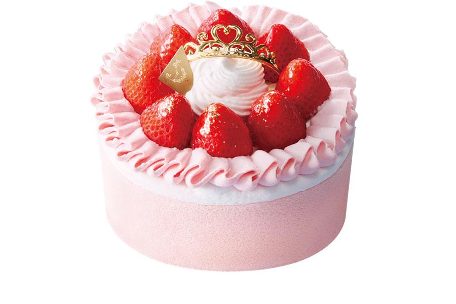 「今田美奈子監修 苺のショートケーキ 5号〜プリンセスの舞踏会〜」(6000円)は、ピンクのスポンジケーキ、クリーム、苺をサンド。フリル状に絞ったクリームで、プリンセスのドレスを表現した可愛らしいケーキ。「ナチュラルローソン」限定で販売される。