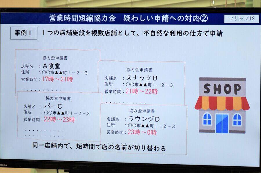 ひとつの店舗を複数店舗として申請された不正申請の事例(9月22日・大阪府庁)