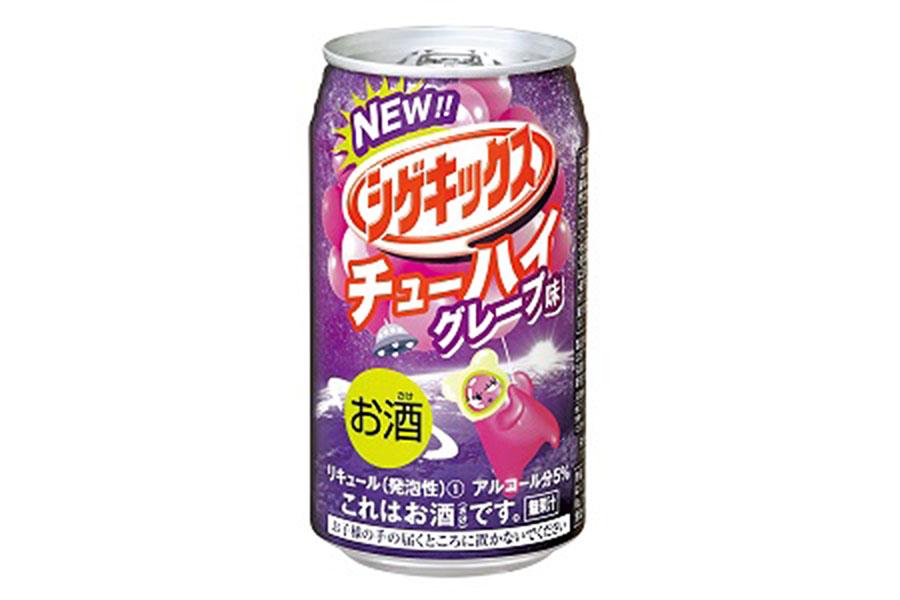 酸っぱさ・アルコール・強炭酸で「シゲキックス」を再現した「シゲキックスチューハイ グレープ味」(オープン価格)
