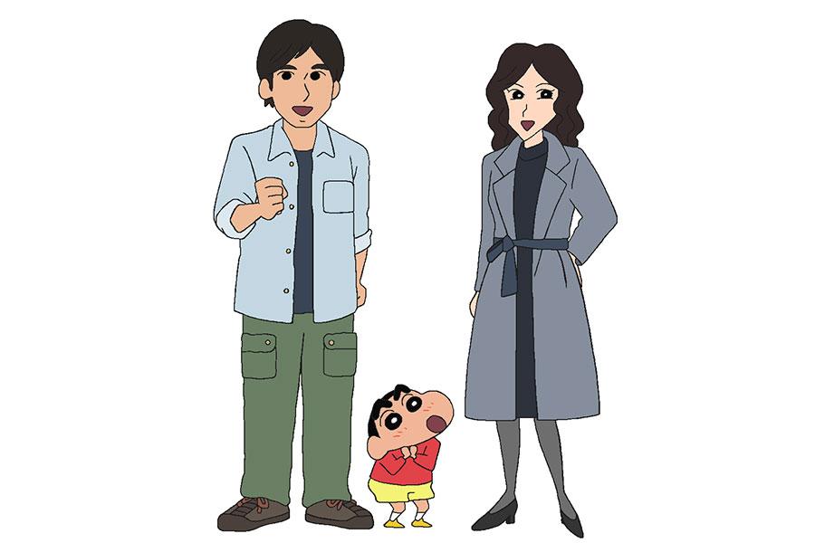 左から、相馬日和、しんのすけ、相馬凛子 (C)臼井儀人/双葉社・シンエイ・テレビ朝日・ADK
