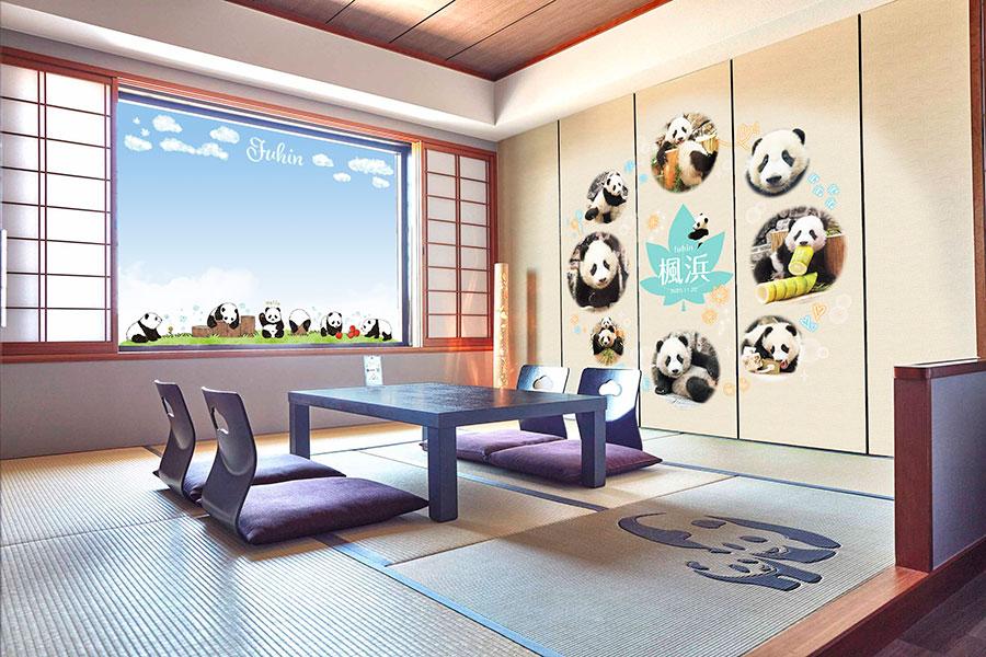 壁や窓に「楓浜」がデザインされたコラボルーム